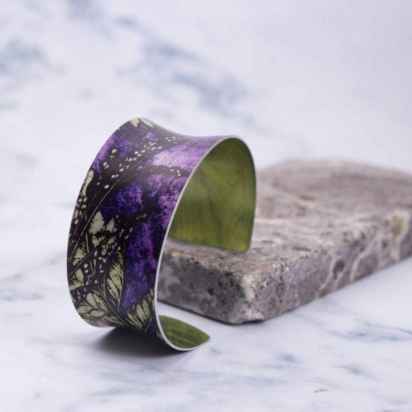 Cuff bracelet  plumb fern botanical design 08
