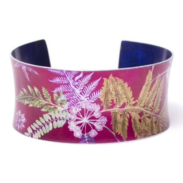 Cuff bracelet  hot pink  botanical design 11
