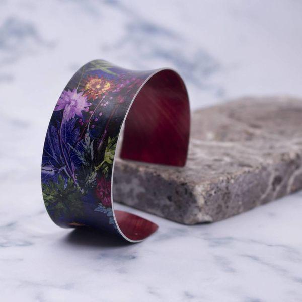 Cuff bracelet tropical indigo botanical design 13