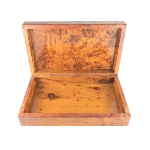 Dos árboles de madera, peltre y abulón con bisagras caja 1 sección