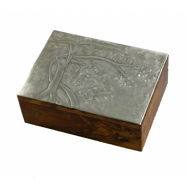 Kirschblüten-Zinn- und Holzscharnierbox 15