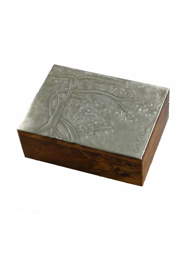 Kirschblüten Zinn und Holz Klappbox 15
