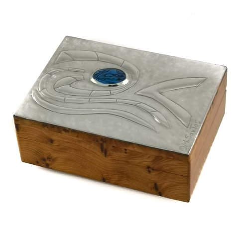 Maria Santos Waves and abalone pewter and wood hinged box 16
