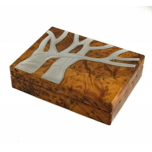 Maria Santos Oak Tree Pewter and Wood card Box 17