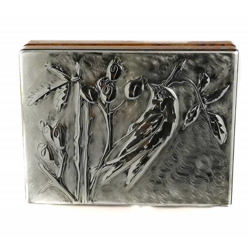Maria Santos Caja de tarjeta de peltre y madera Greenfinch 18