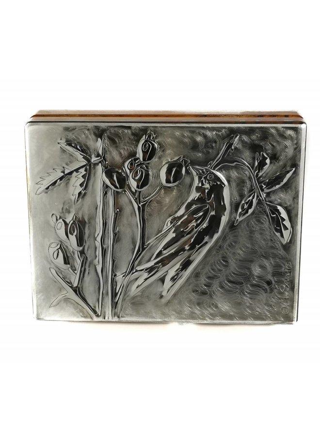 Greenfinch Zinn und Holz Karte Box 18