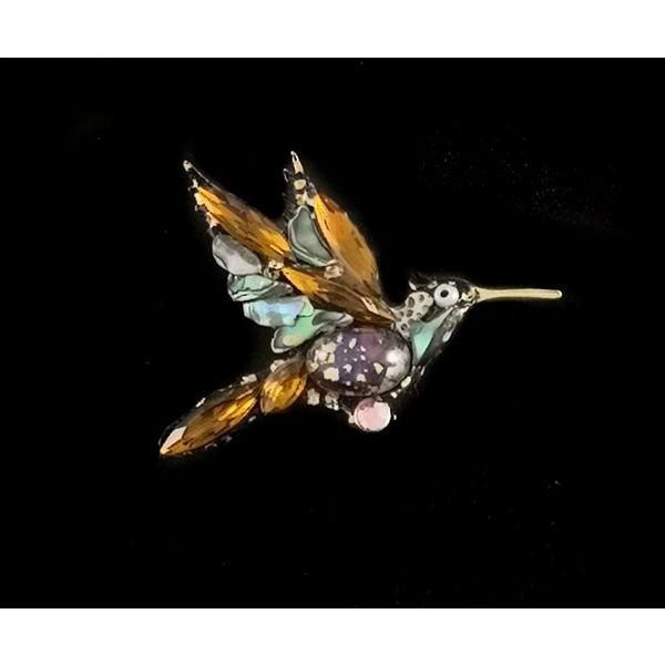 Vintage humming bird amber  brooch 105