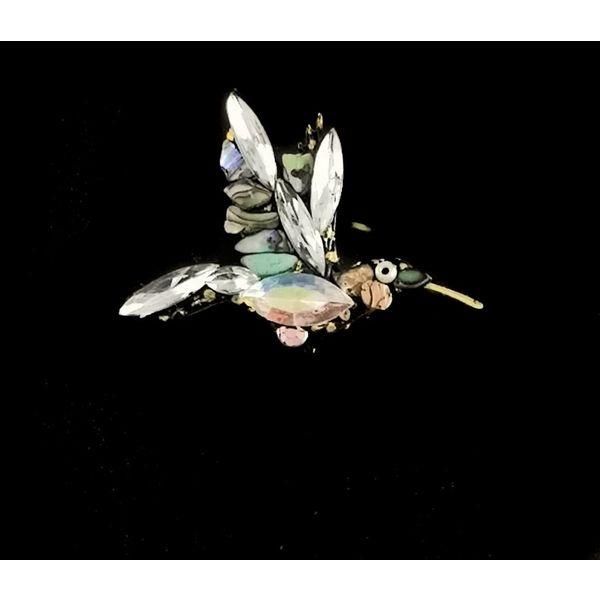 Broche de colibrí blanco vintage 106