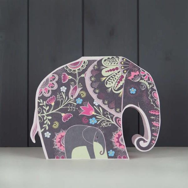 Nelly Elephant cut card by Sarah Young