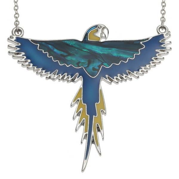 Macaw flying Inlaid Paua shell and mop necklace 96