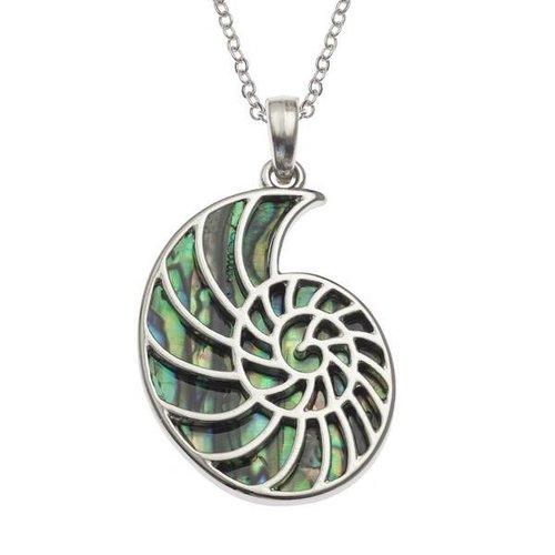 Tide Jewellery Ammonite Inlaid Paua shell  necklace 86