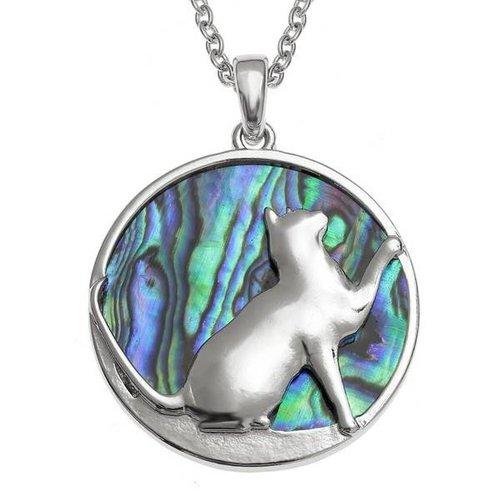 Tide Jewellery Paua Muschelhalskette mit eingelegter Katze 85