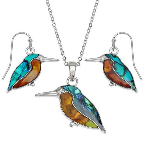 Tide Jewellery Kingfisher  Inlaid Puau shell drop earrings 110