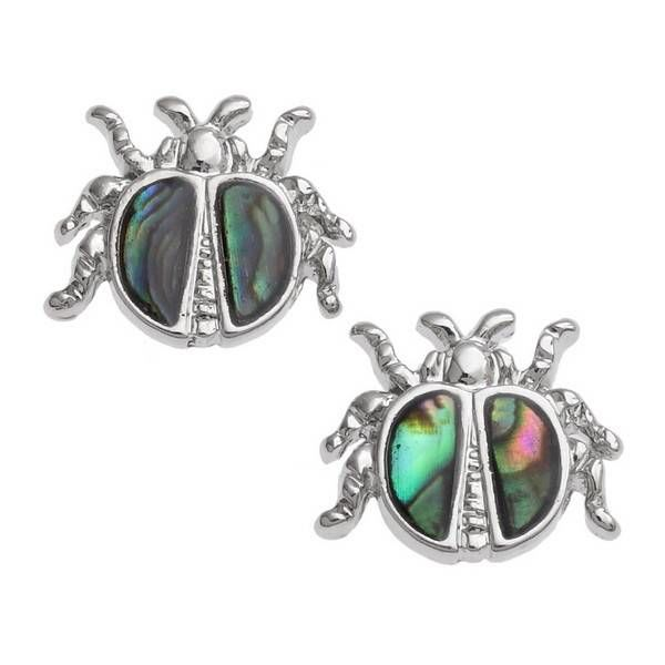 Ladybird Inlaid Paua shell  Stud Earrings