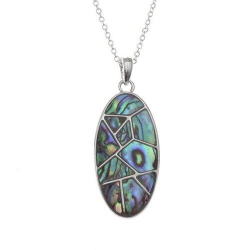 Tide Jewellery Ovale Linien Eingelegte Paua Muschelkette 95