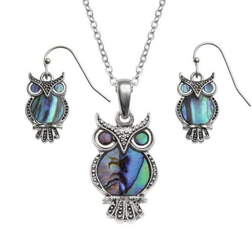 Tide Jewellery Owl Inlaid Paua shell  necklace T366