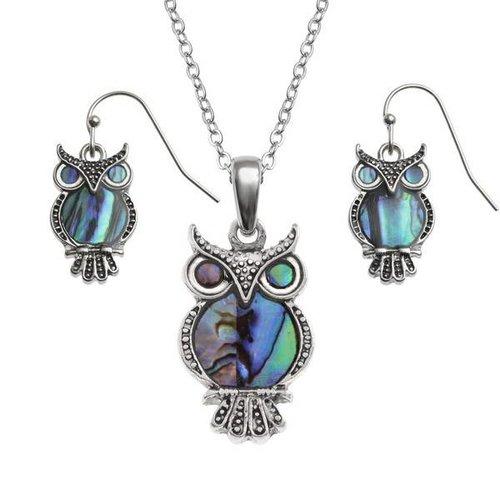 Tide Jewellery Owl Inlaid Puau shell drop earrings T103