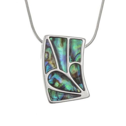 Tide Jewellery Rectangle Curve Paua shell  necklace 94