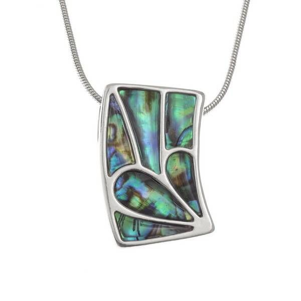 Rectangle Curve Paua shell  necklace 94