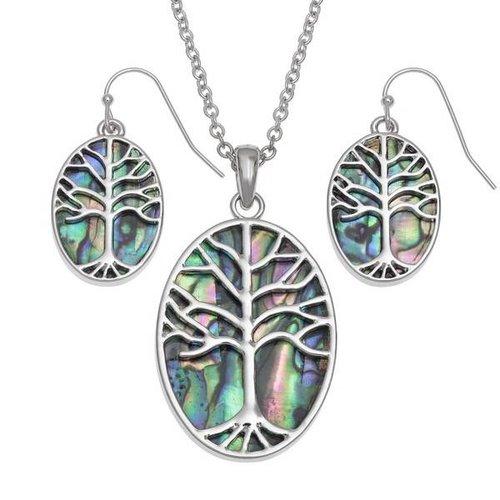 Tide Jewellery Pendientes largos de concha de Puau con incrustaciones ovaladas del árbol de la vida 102