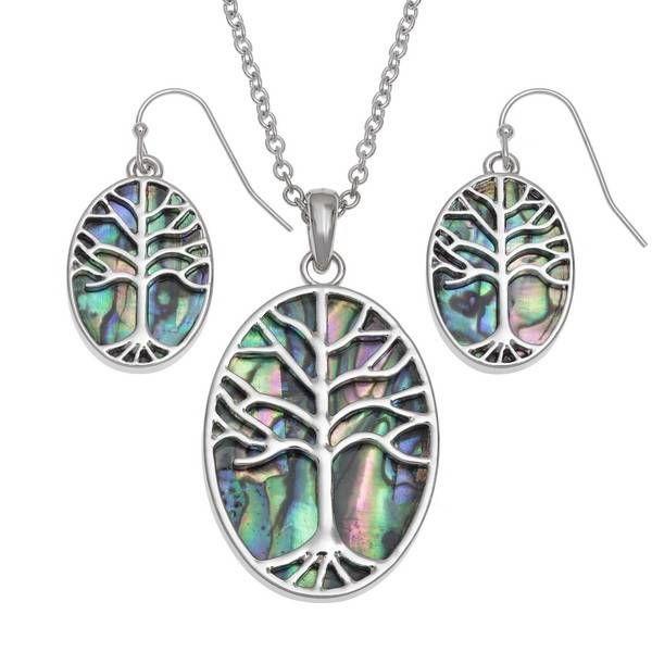 Tree of Life oval Inlaid Puau shell drop earrings 102
