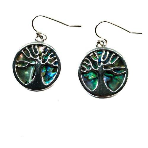Tide Jewellery Aretes de concha redondos con incrustaciones de árbol de la vida Puau