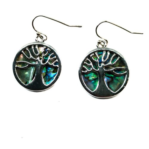 Tide Jewellery Pendientes redondos de concha de Puau con incrustaciones de árbol de la vida 073