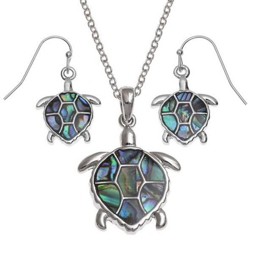 Tide Jewellery Turtle Drop Inlaid Paua shell Pendientes 101