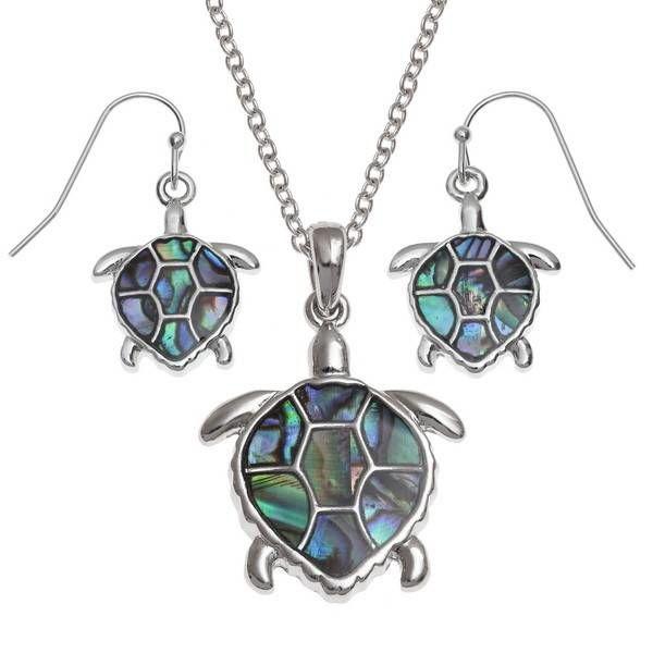 Turtle Drop  Inlaid Paua shell  Earrings 106