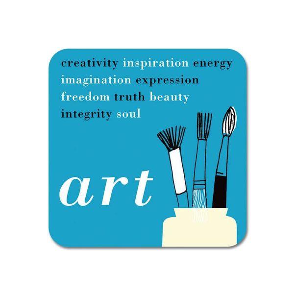 Gallery Fridge Magnet Art words blue  64