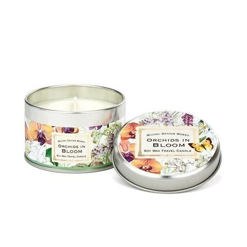 Michel Design Works Orchids in Bloom Travel Candle Tin 20 +hours