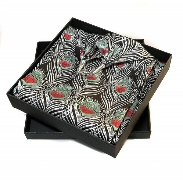 Feathers  Satin and Silk Scarf  with magnetic clasp Boxed