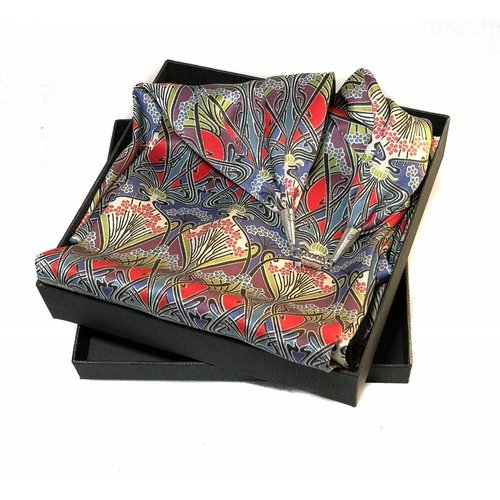 Lady Crow Silks Nouveau Satin and Silk Scarf  with magnetic clasp Boxed