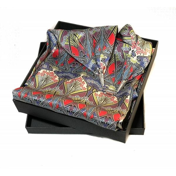 Nouveau Satin and Silk Scarf  with magnetic clasp Boxed