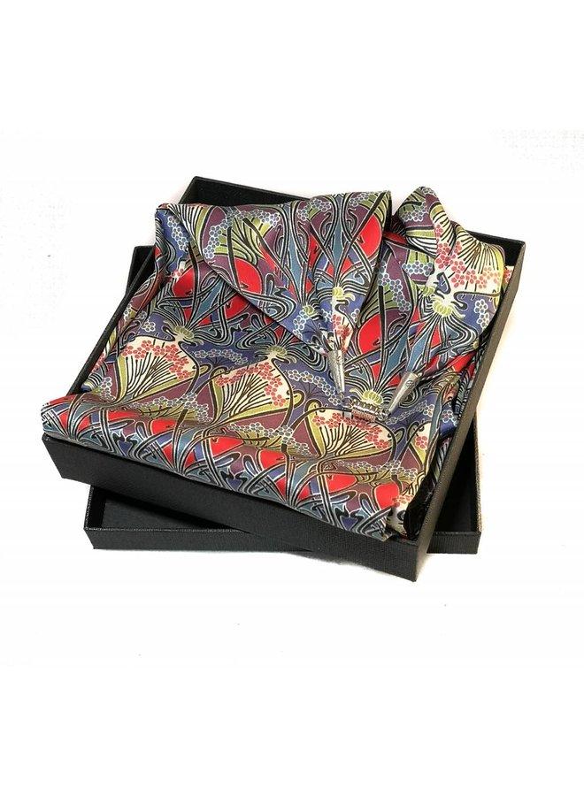 Nouveau Satin und Silk Scarf mit Magnetverschluss Boxed