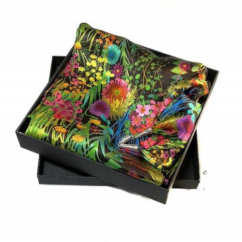 Lady Crow Silks Bufanda de seda y satén Tresco de verano con cierre magnético en caja