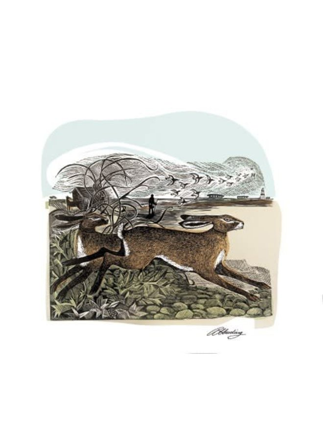 Hares at Orford Ness by Angela Harding
