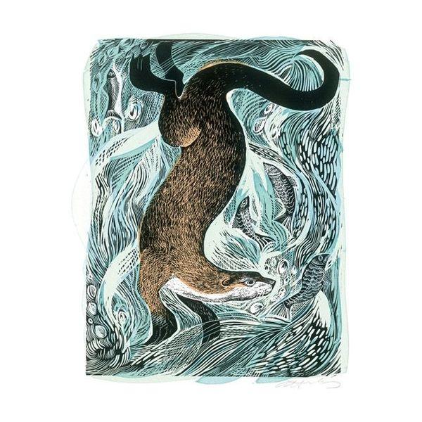 Fishing Otter by Angela Harding