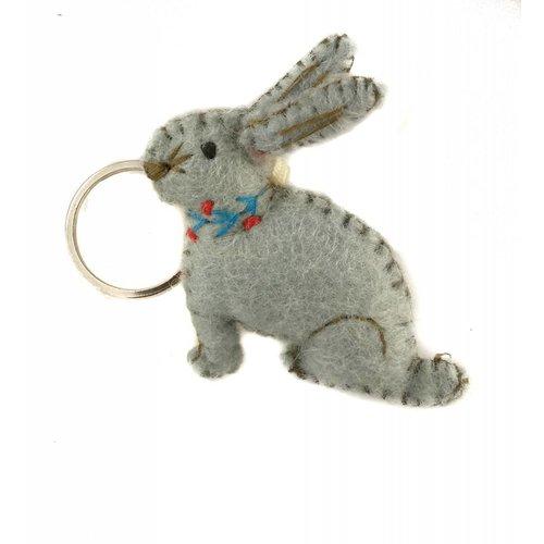 Amica Accessories Bunny Keyring Grey felt 014