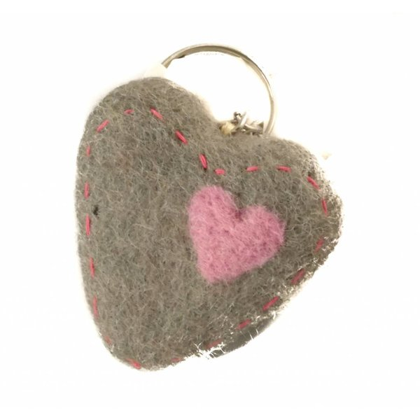 Grey Heart Felt Keyring 011