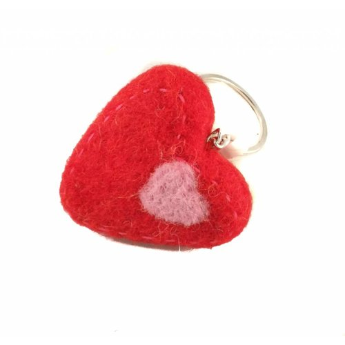 Amica Accessories Red heart Felt Keyring 010