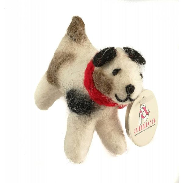 Small Jack Russel  felt toy Red scarf 17