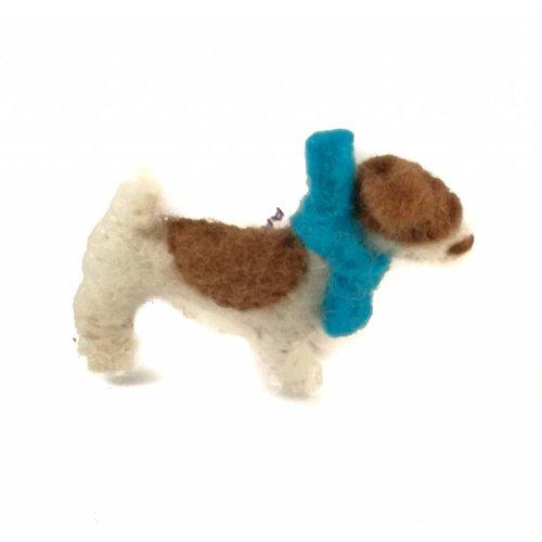 Amica Accessories Jack Russel Felt blauwe sjaalbroche 008