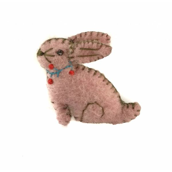 Bunny brooch pink brooch