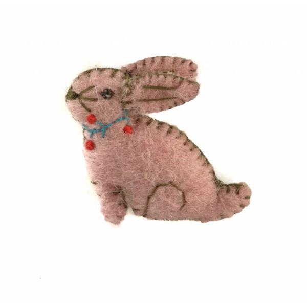 Konijn broche roze vilt broche 018