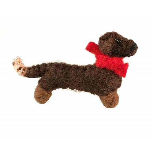 Amica Accessories Broche de fieltro perro salchicha 001