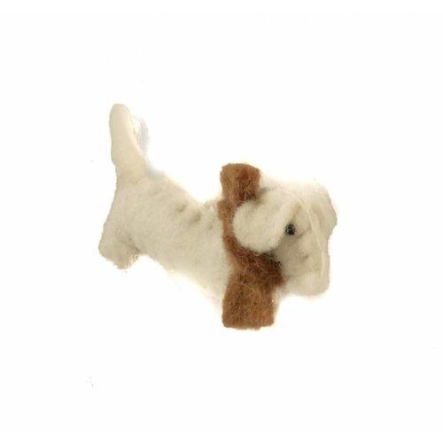 Amica Accessories Broche perro salchicha fieltro blanco 011