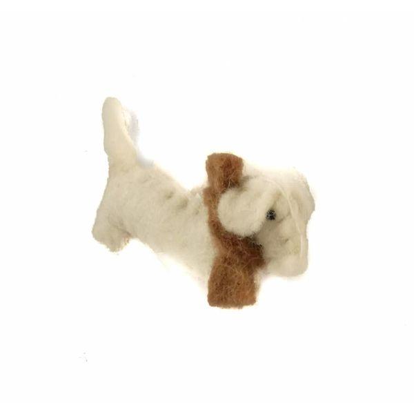 Sausage dog white felt brooch 011