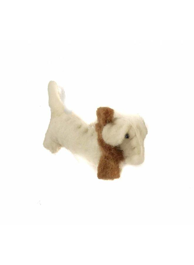 Wursthund weiße Filzbrosche 011