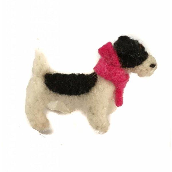 Jack Russel pink scarf felt  brooch 007